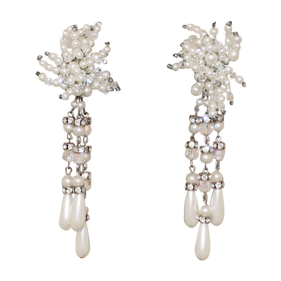 Vintage Art Deco Pearl & Rhinestone Long Earrings - circa 1920s For Sale