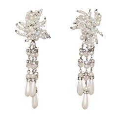Vintage Art Deco Pearl & Rhinestone Long Earrings - circa 1920s