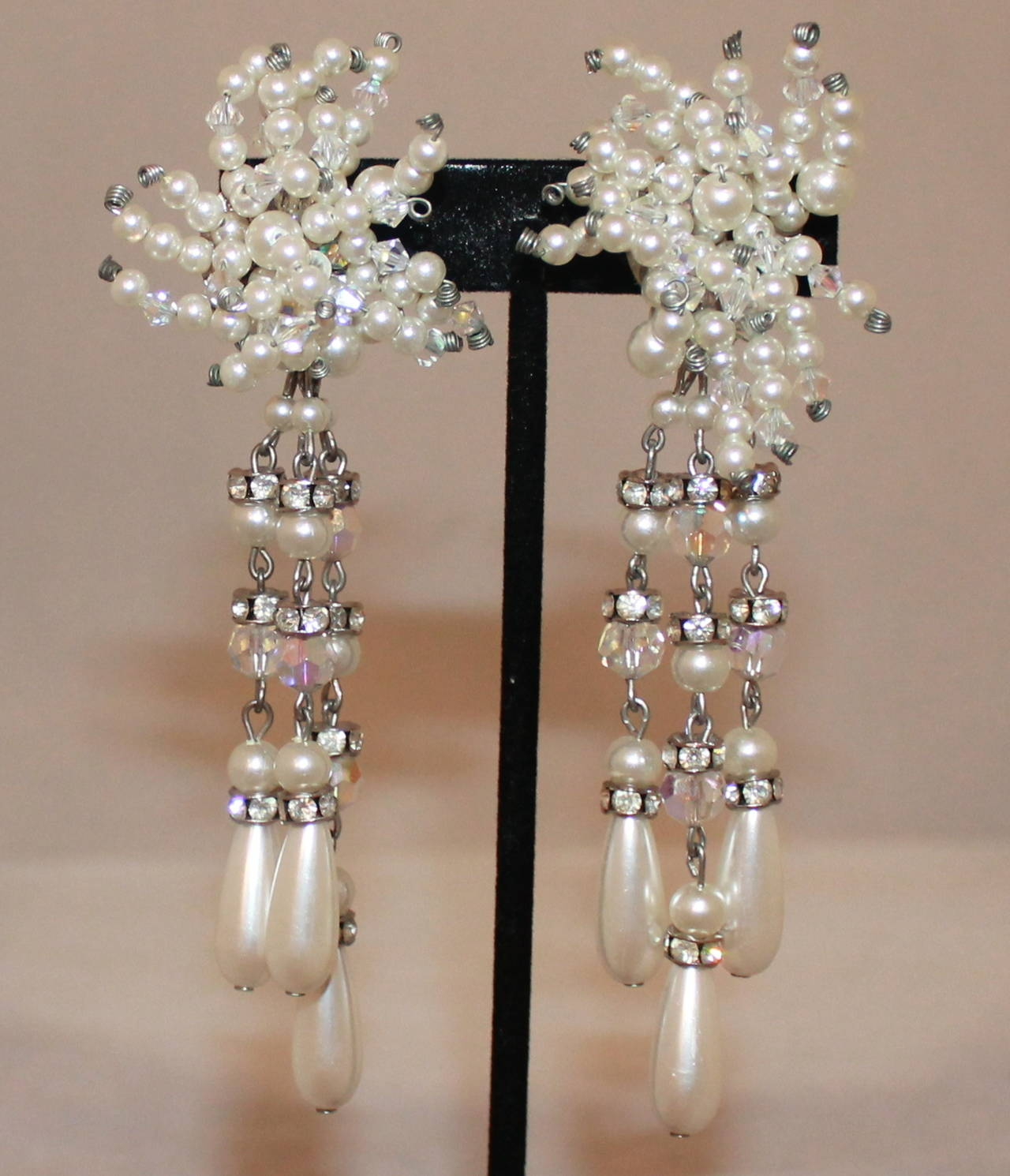 Vintage Art Deco Pearl & Rhinestone Long Earrings - circa 1920s. These earrings are in excellent condition. 