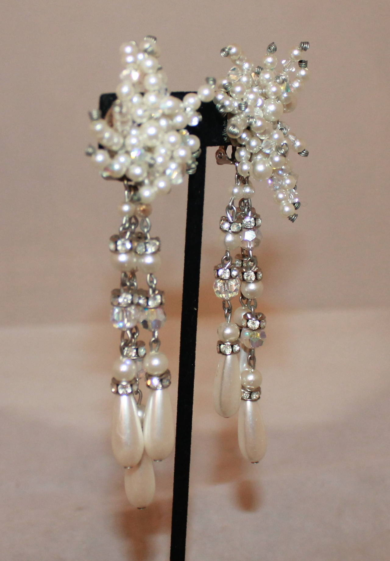 Vintage Art Deco Pearl & Rhinestone Long Earrings - circa 1920s In Excellent Condition For Sale In Palm Beach, FL