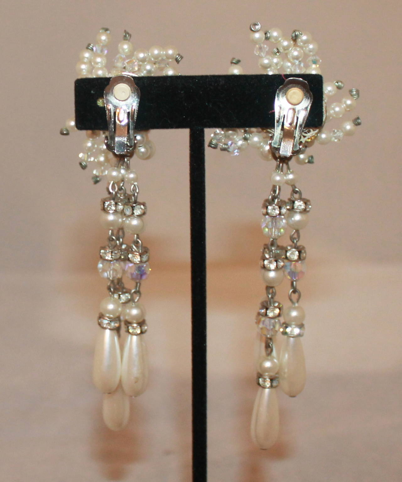 Women's Vintage Art Deco Pearl & Rhinestone Long Earrings - circa 1920s For Sale
