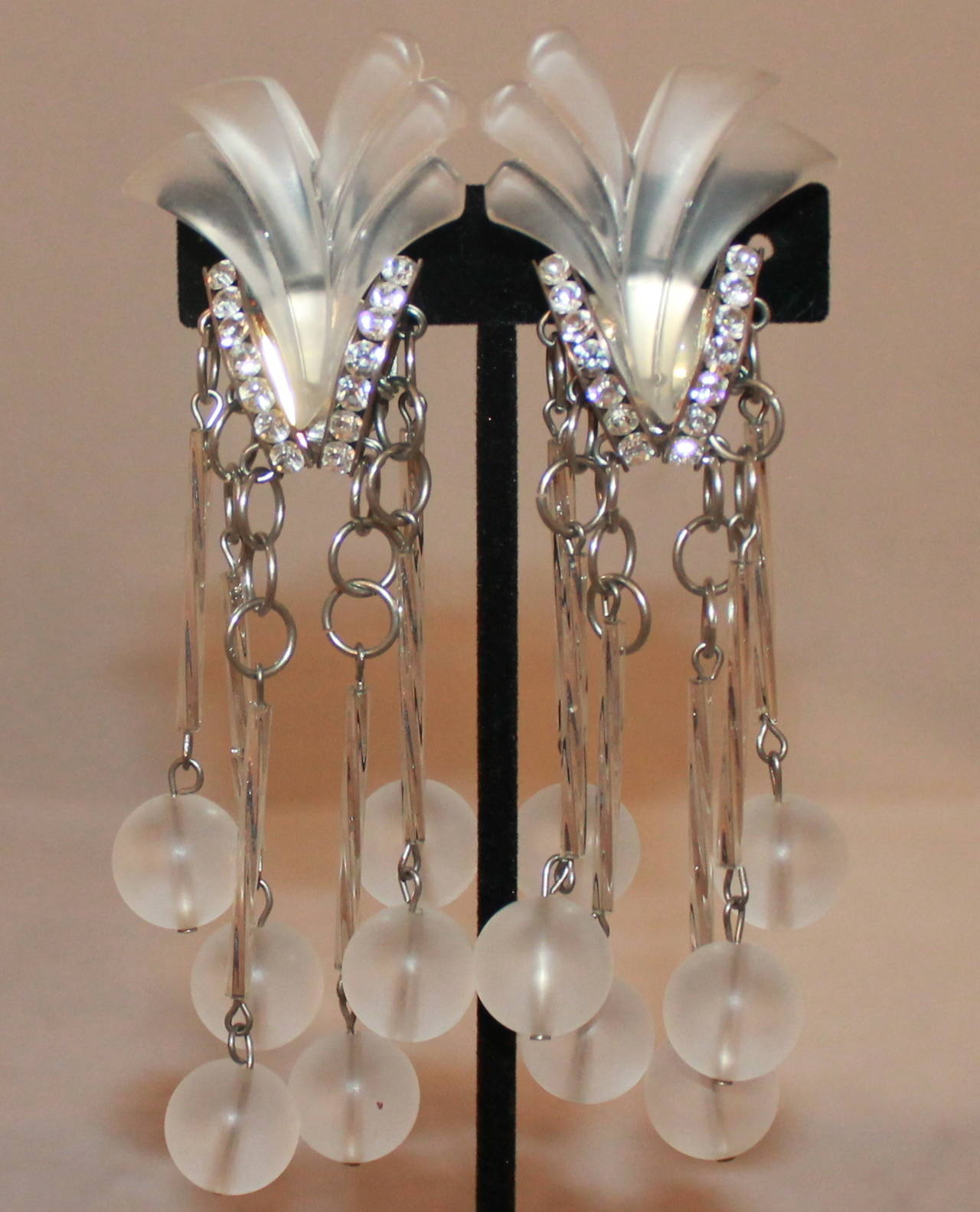 Vintage Art Deco Clear Stone Rhinestone Clip Earrings Circa 1920s These