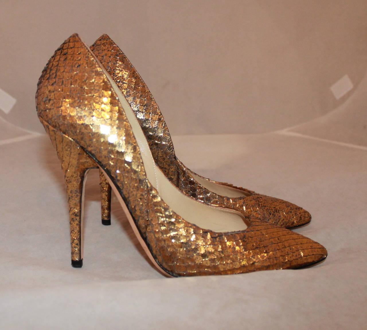 jimmy choo golden snake high heels 39 at 1stdibs. Black Bedroom Furniture Sets. Home Design Ideas