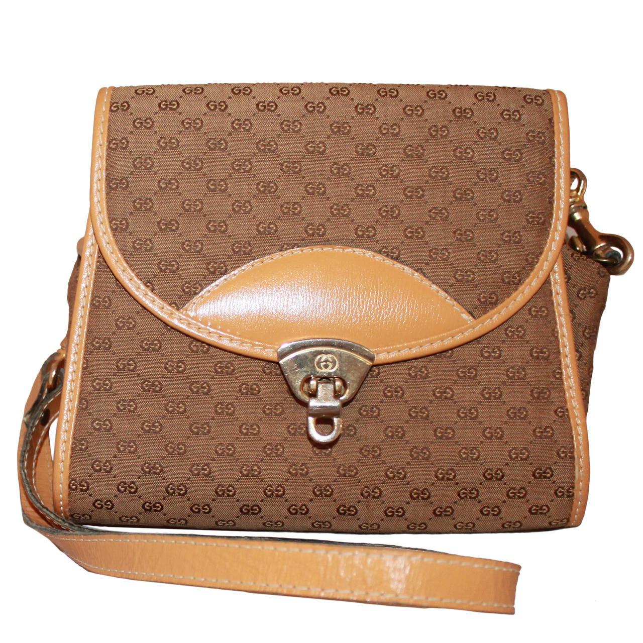 gucci vintage monogram handbag with strap for sale at 1stdibs