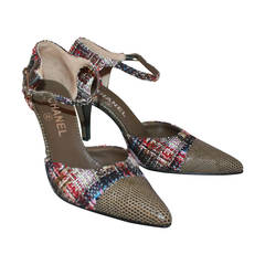 Chanel Olive Lizard & Tweed Heels - 37 **NEW**