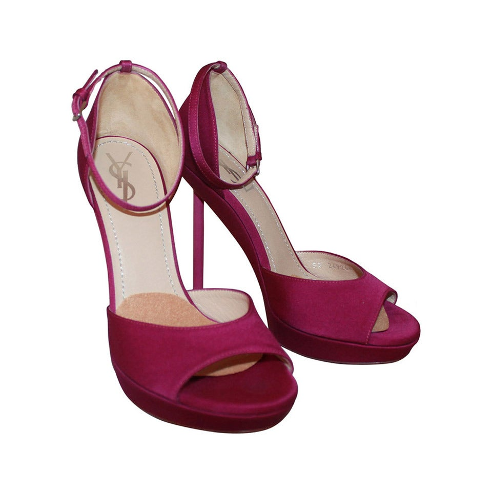 YSL Fushia Strapped Peep Toe Heels - 6.5 1