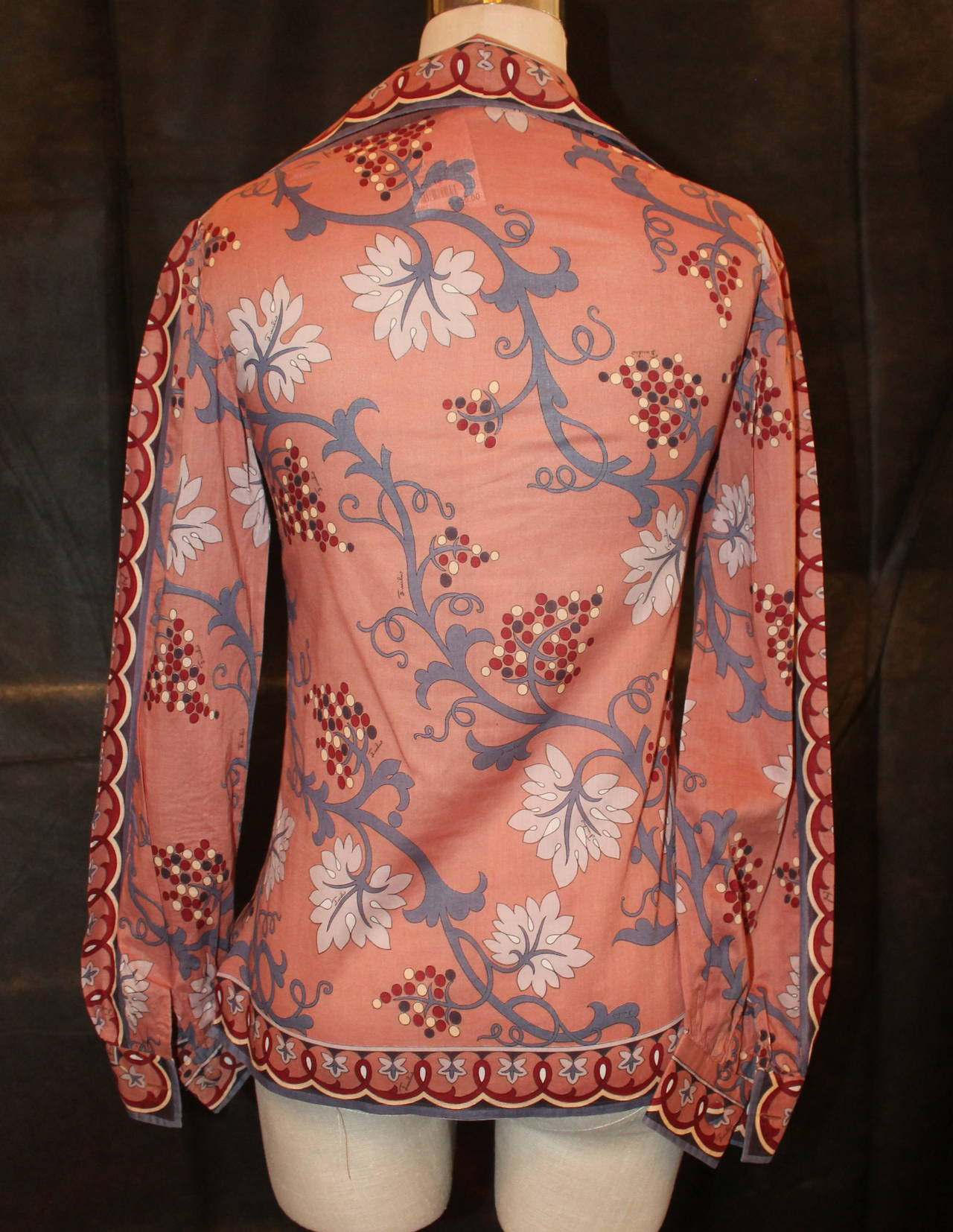 pucci vintage burnt orange vine print jacket shirt circa