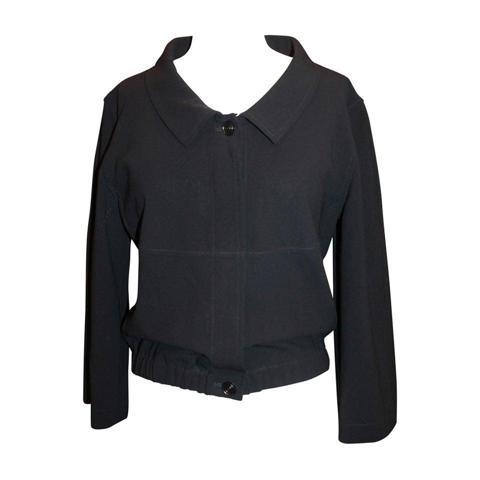 Chanel Navy Wool Jacket/Shirt with Elastic Bottom - 38