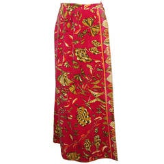 Pucci Vintage Magenta & Olive Butterfly Velvet Maxi Skirt - circa 1960s - M