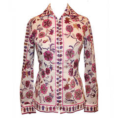 Pucci Vintage White, Purple, Pink Floral Print Jacket/Shirt - circa 1960s - S