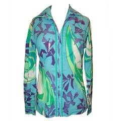 Pucci Vintage Teal Floral Print Jacket/Shirt - circa 1960s - S