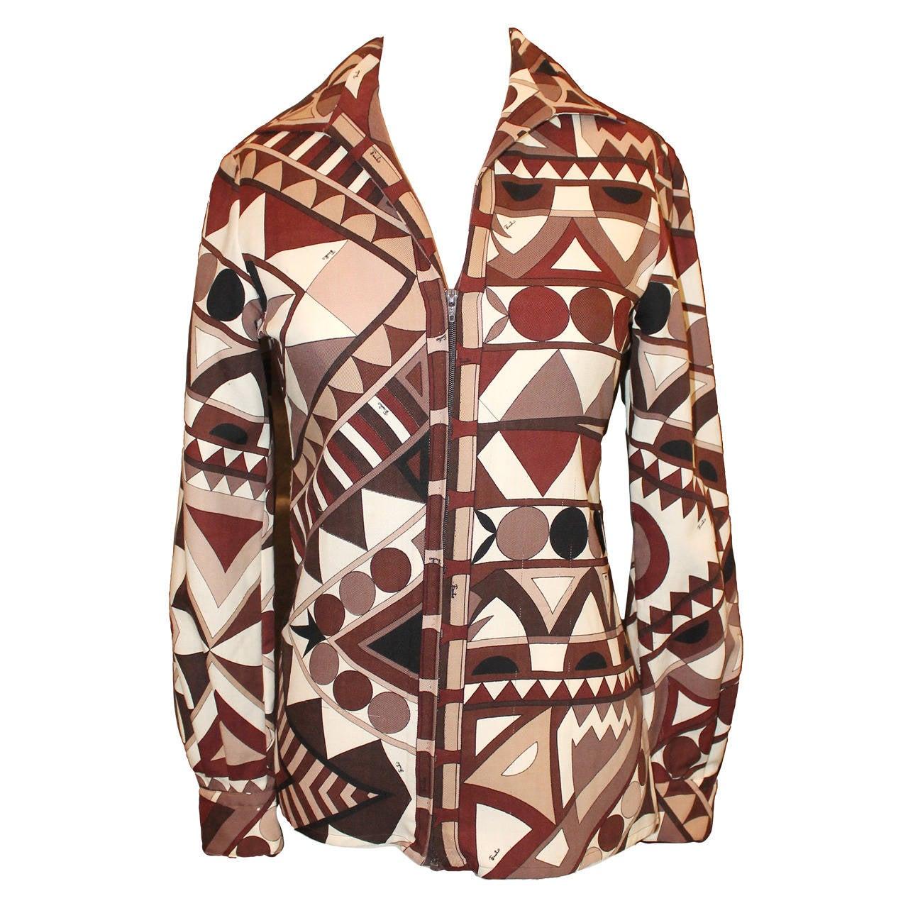Pucci Vinatge Brown Geomtric Print Jacket/Shirt - circa 1960s - S