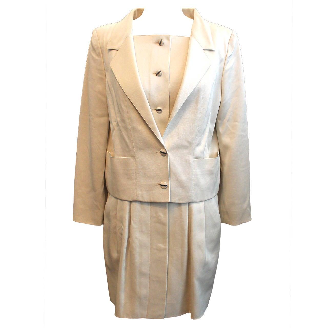 karl lagerfeld vintage ivory dress and jacket set 38 for sale at 1stdibs. Black Bedroom Furniture Sets. Home Design Ideas