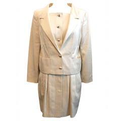 Karl Lagerfeld Vintage Ivory Dress & Jacket Set - 38