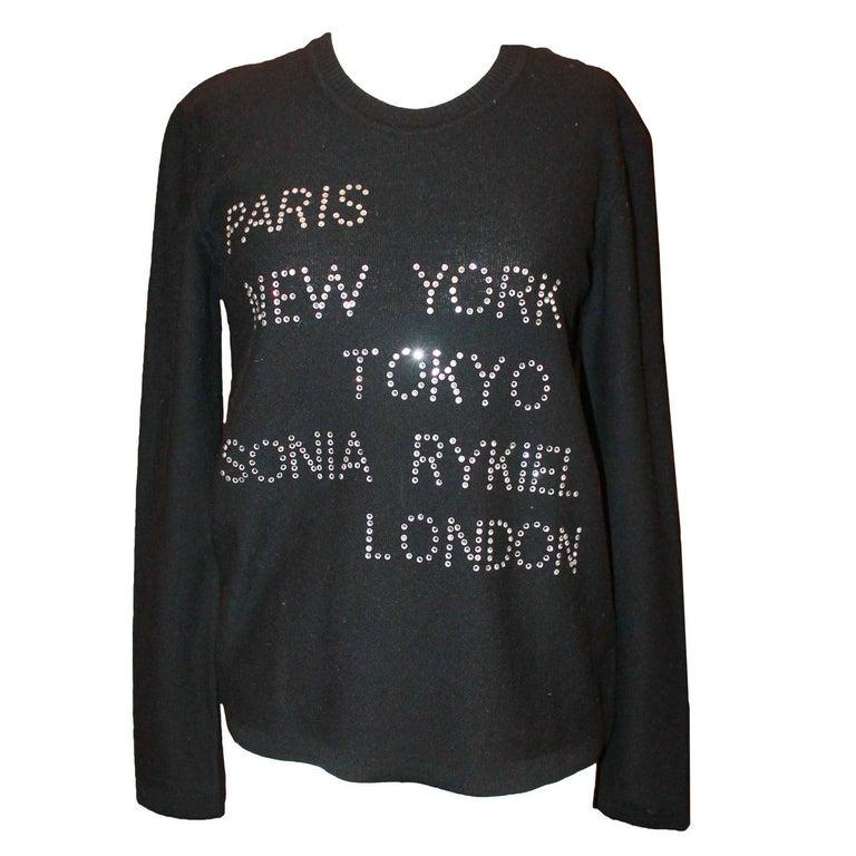 Sonia Rykiel Black Wool Blend Rhinestone Sweater - 40