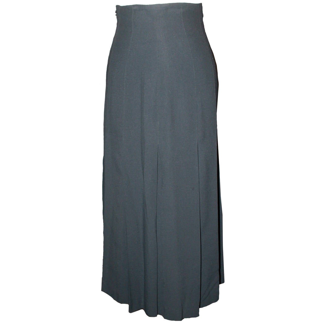 chanel vintage navy pleated skirt 38 for sale at