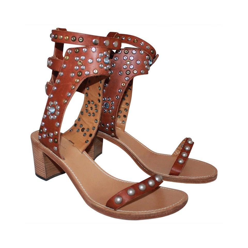 Isabel Marant Leather & Cap Embellished Sandals - 41 1