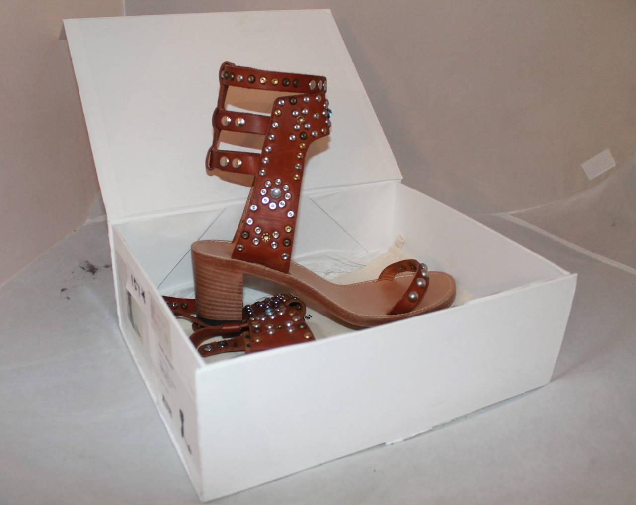 Isabel Marant Leather & Cap Embellished Sandals - 41 4