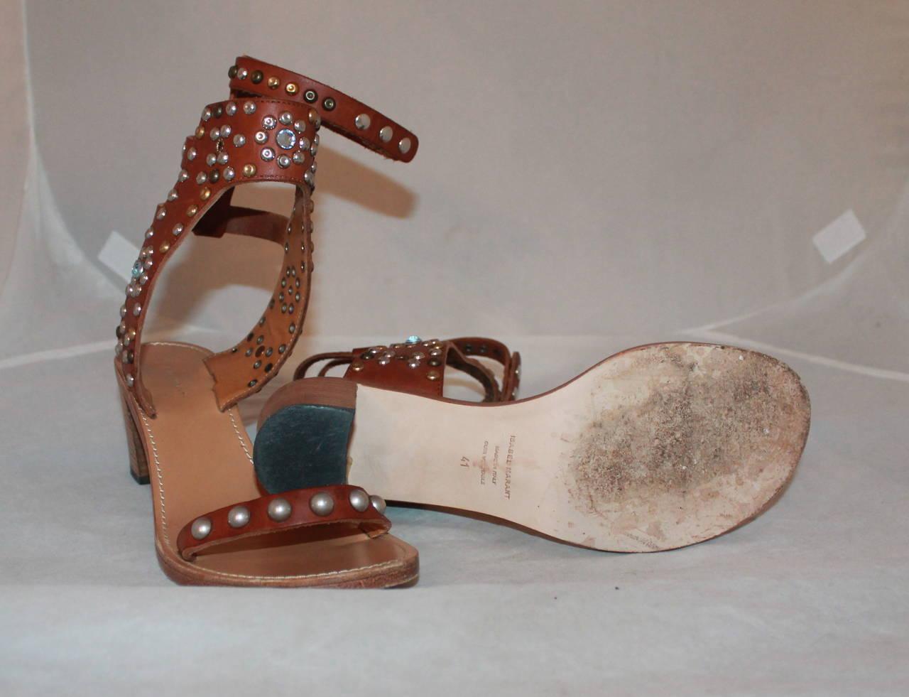 Isabel Marant Leather & Cap Embellished Sandals - 41 3