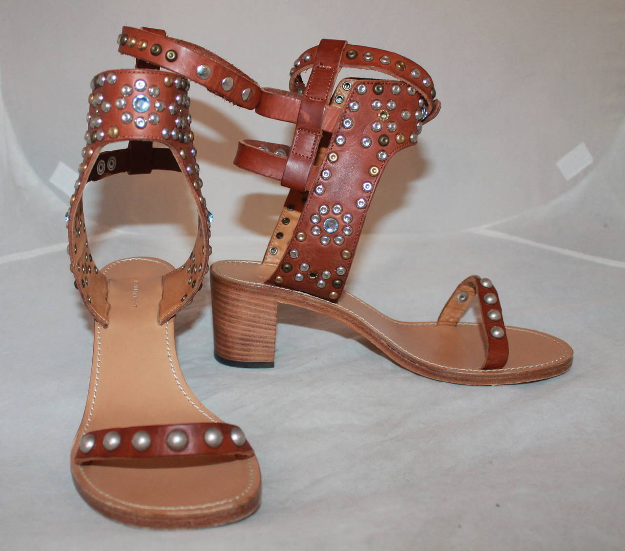 Isabel Marant Leather & Cap Embellished Sandals - 41 2