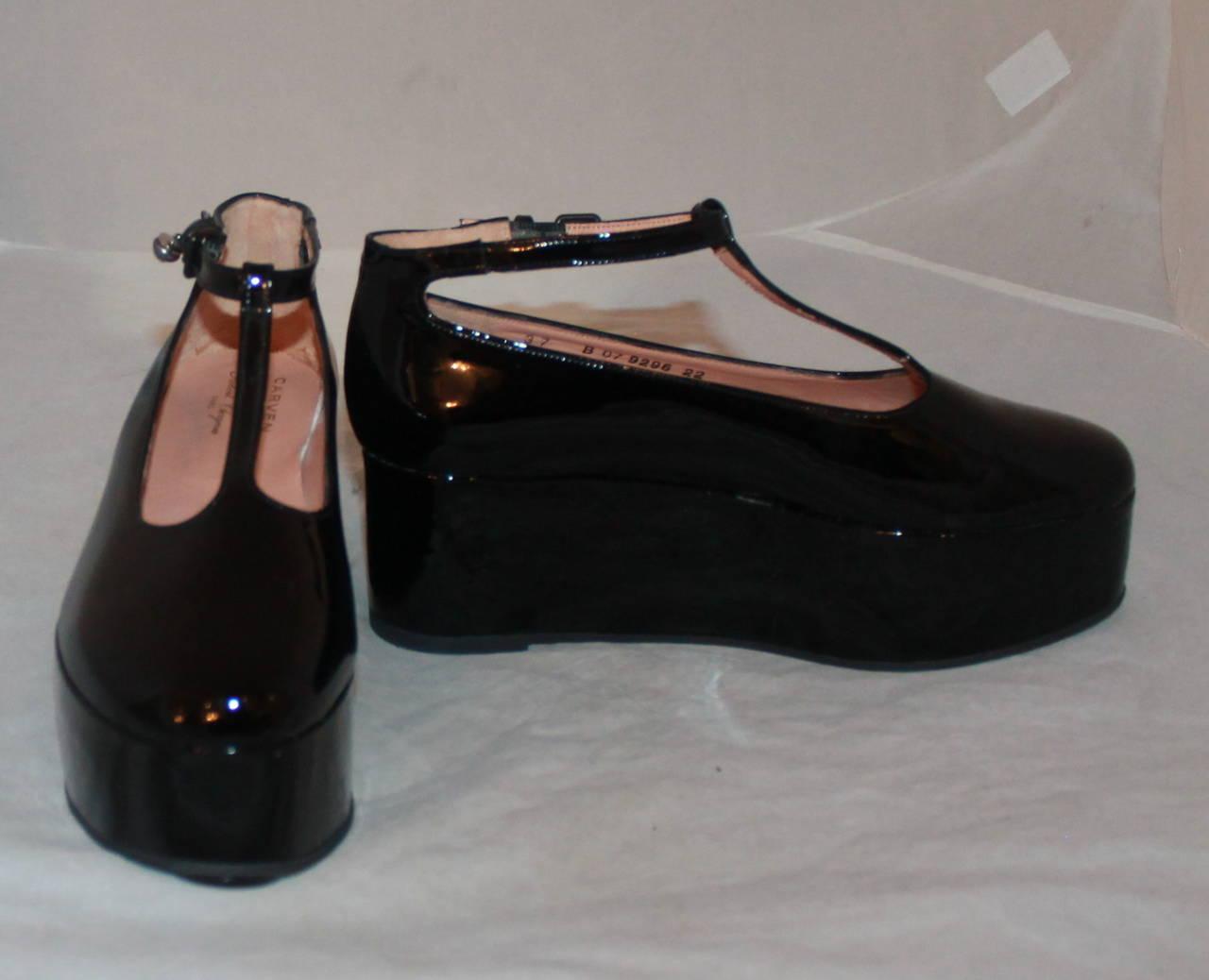 carven black patent leather platform shoes 37 at 1stdibs