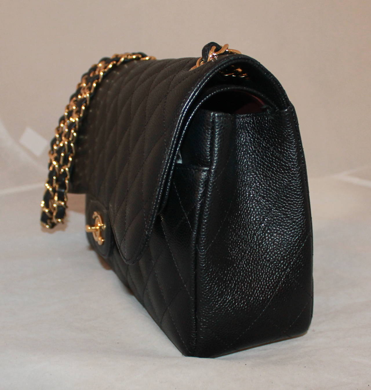 935d5540401 Chanel Black Caviar Jumbo Double Flap Handbag - circa 2014 - NEW WITH BOX  In New