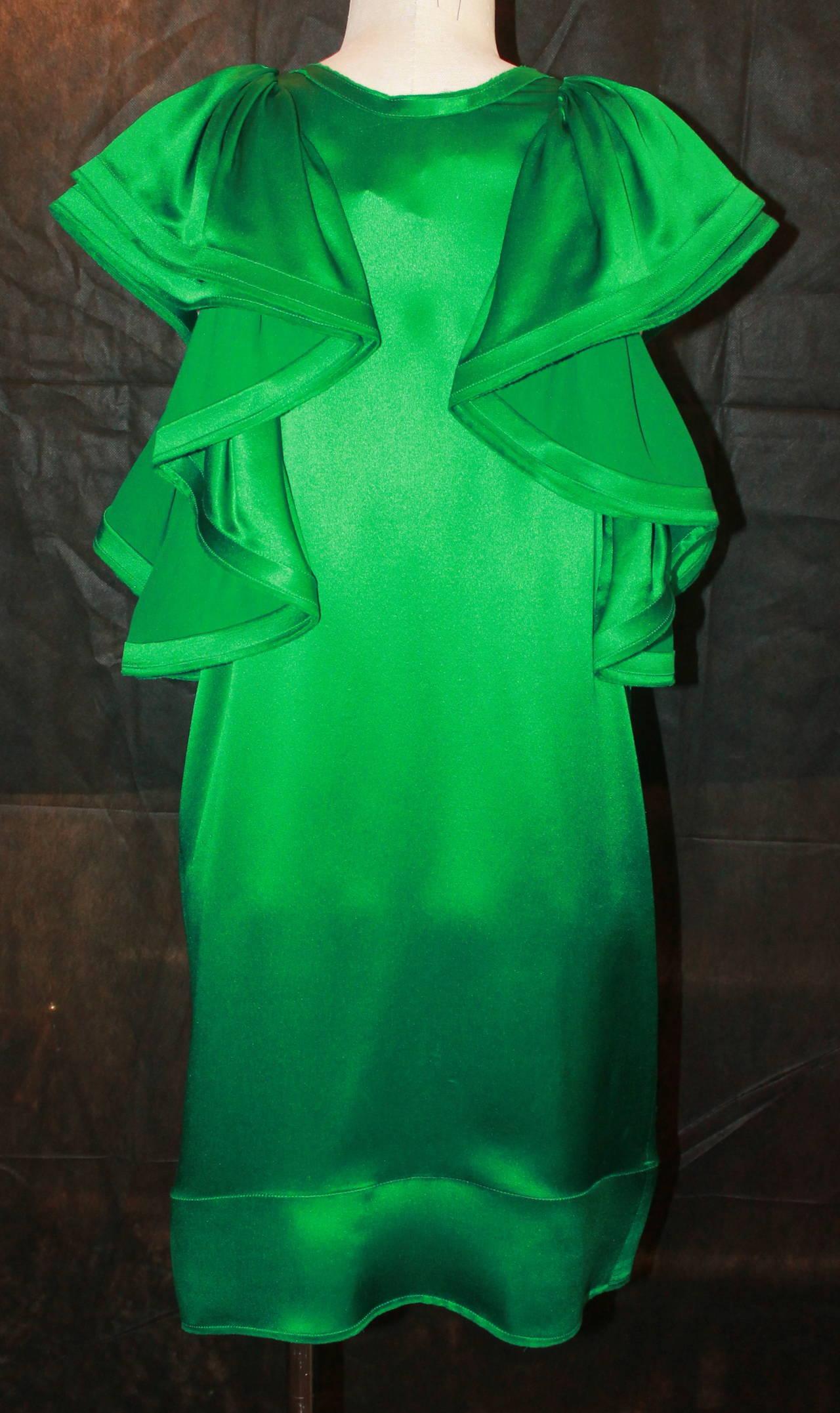 Lanvin Emerald Green Large Ruffle Sleeve Dress - 38 4