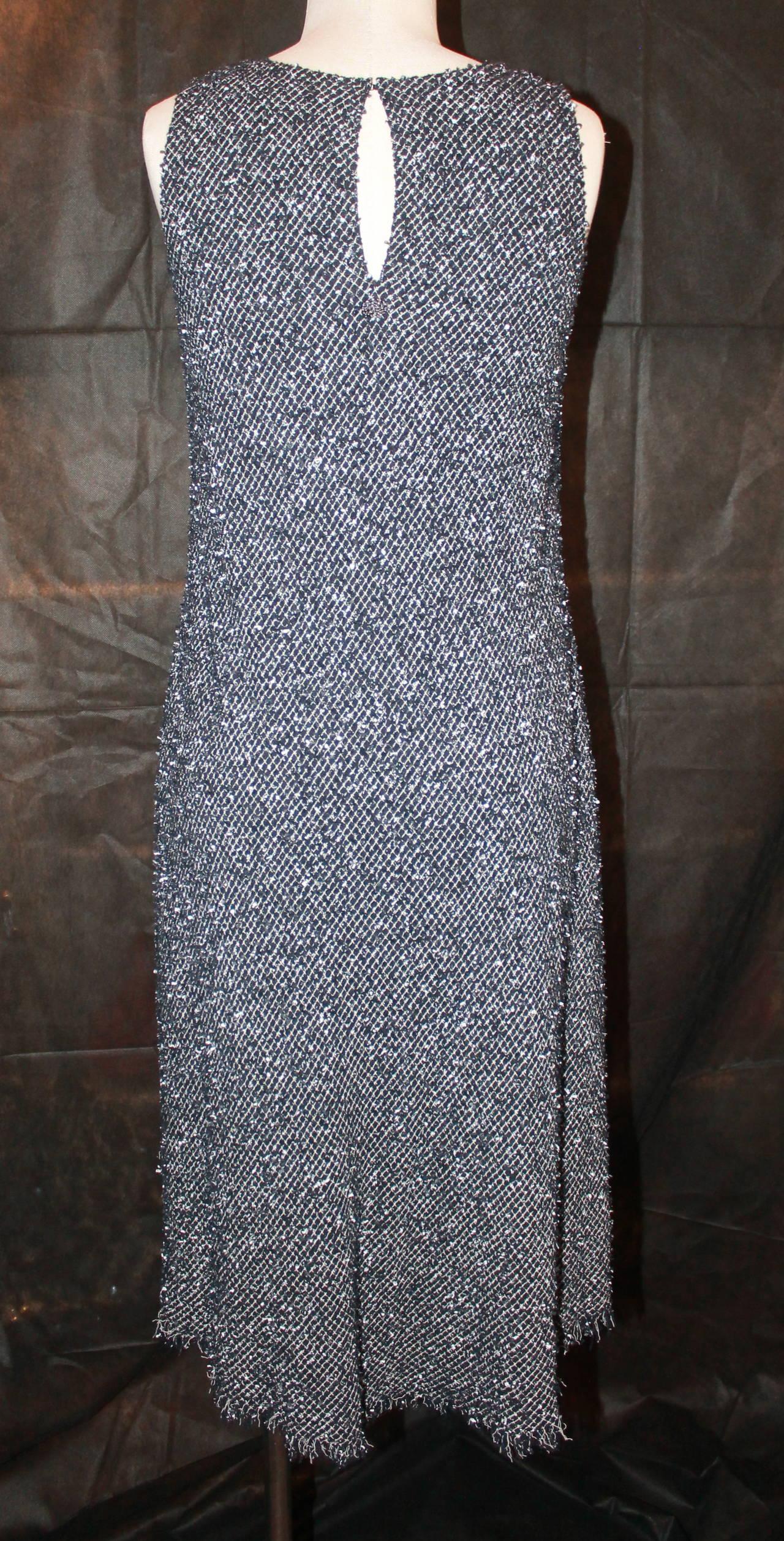 Chanel Black & White Tweed High-Low Dress - 38 3
