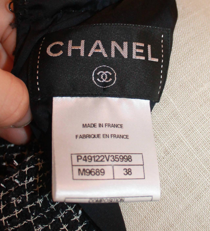 Chanel Black & White Tweed High-Low Dress - 38 5