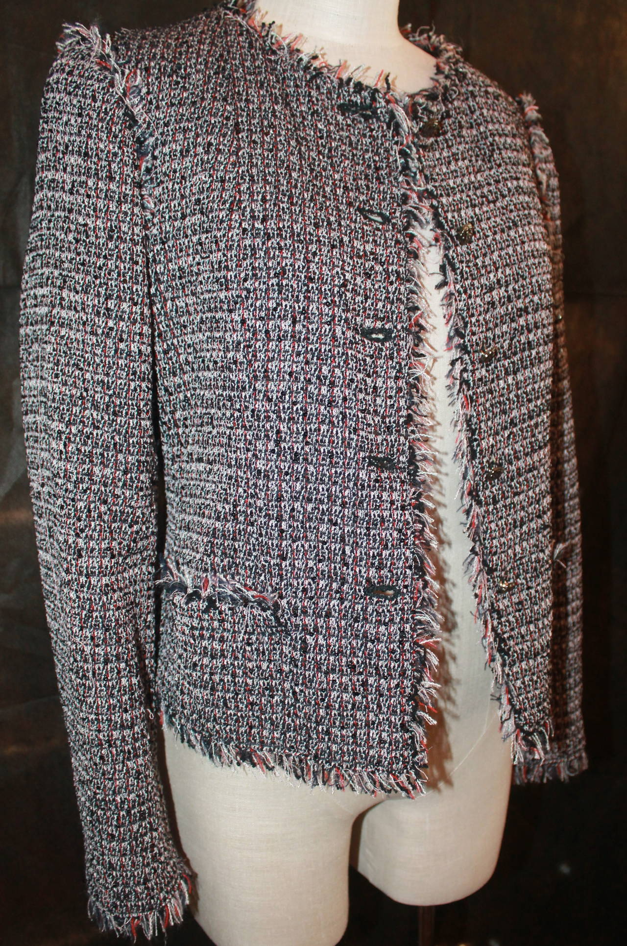 Chanel Black Red White Tweed Jacket With Fringe Trim