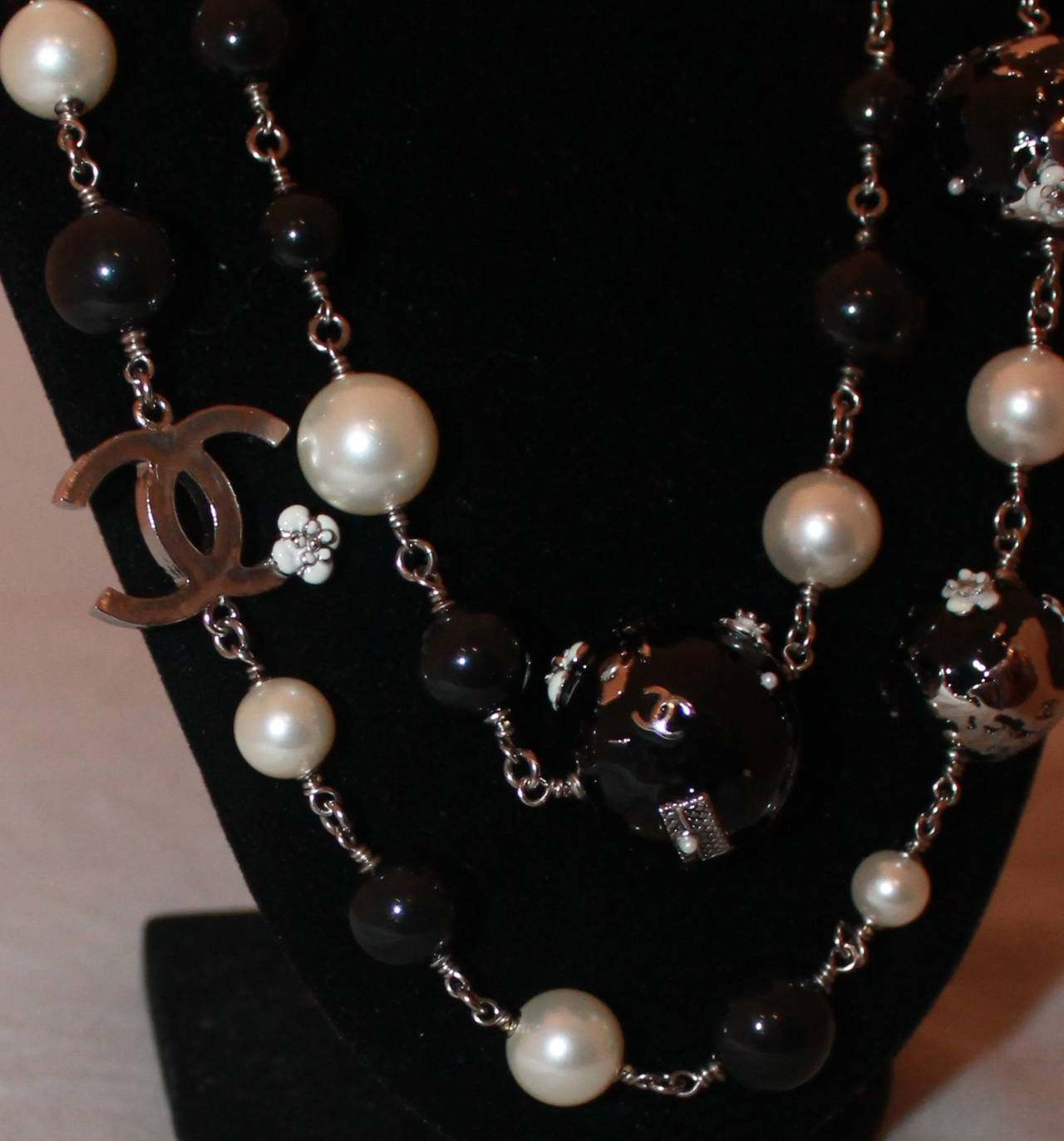 Chanel Long Pearl & Black Bead Necklace With
