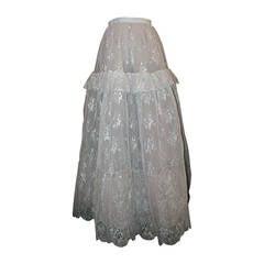 Oscar De La Renta 1990's Vintage Silver Lace & Tulle Ball Skirt - 4