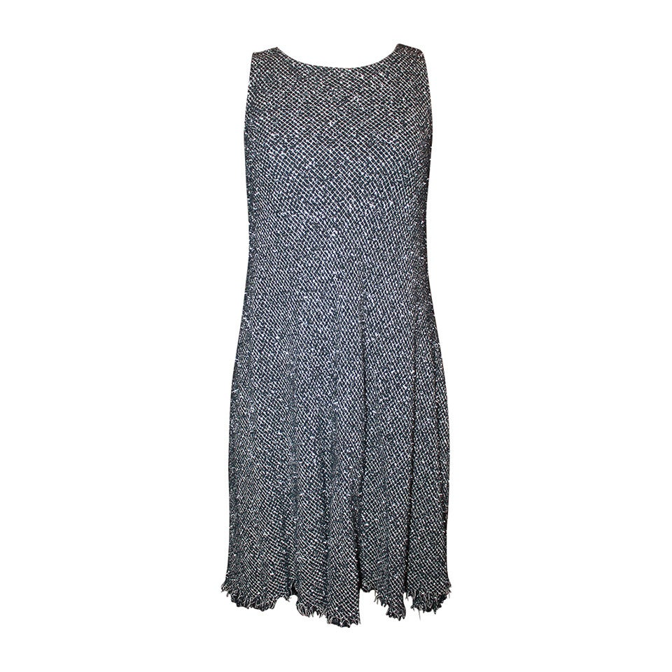 Chanel Black & White Tweed High-Low Dress - 38 1