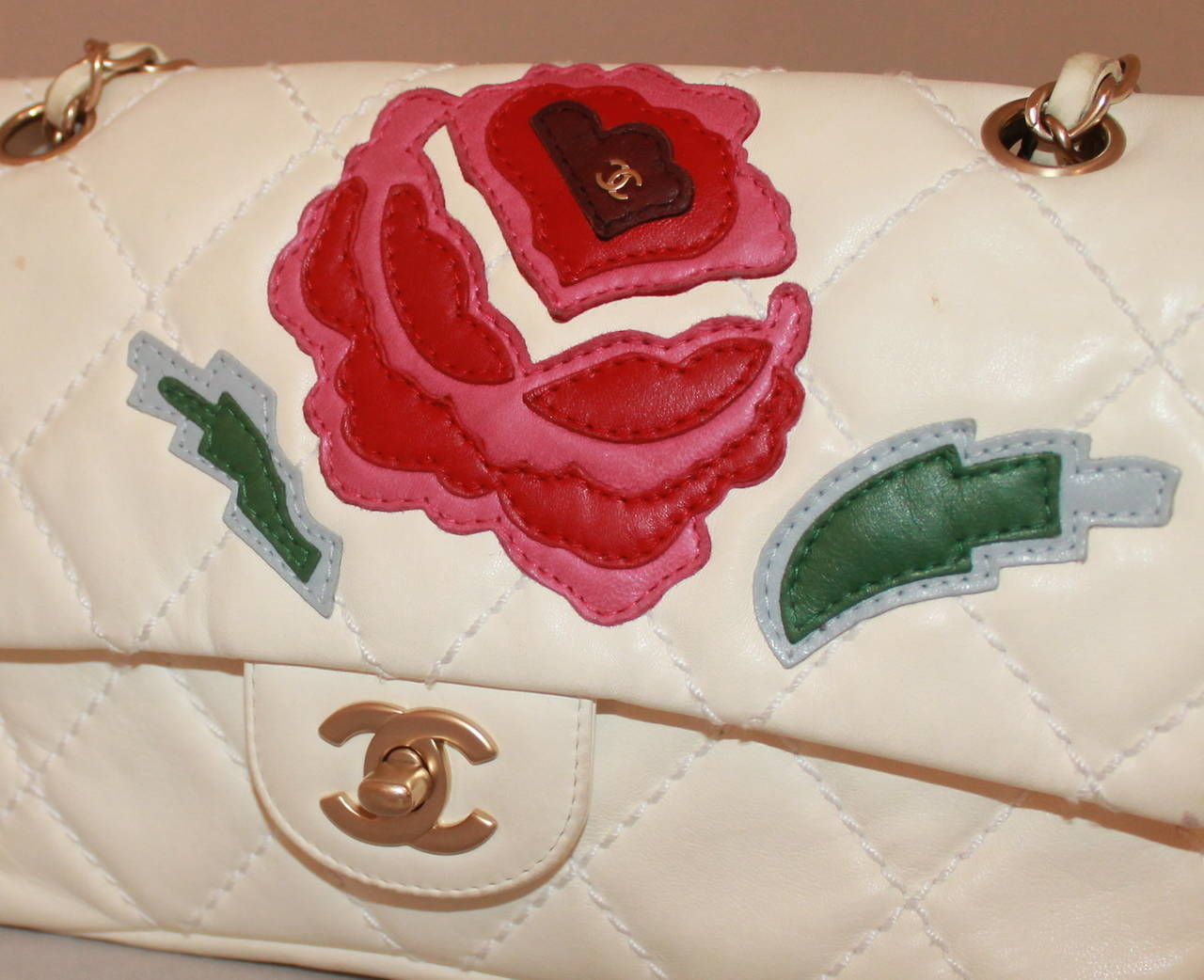 Chanel Ivory Quilted Leather Handbag with Pink & Red Camellia - circa 2005 2