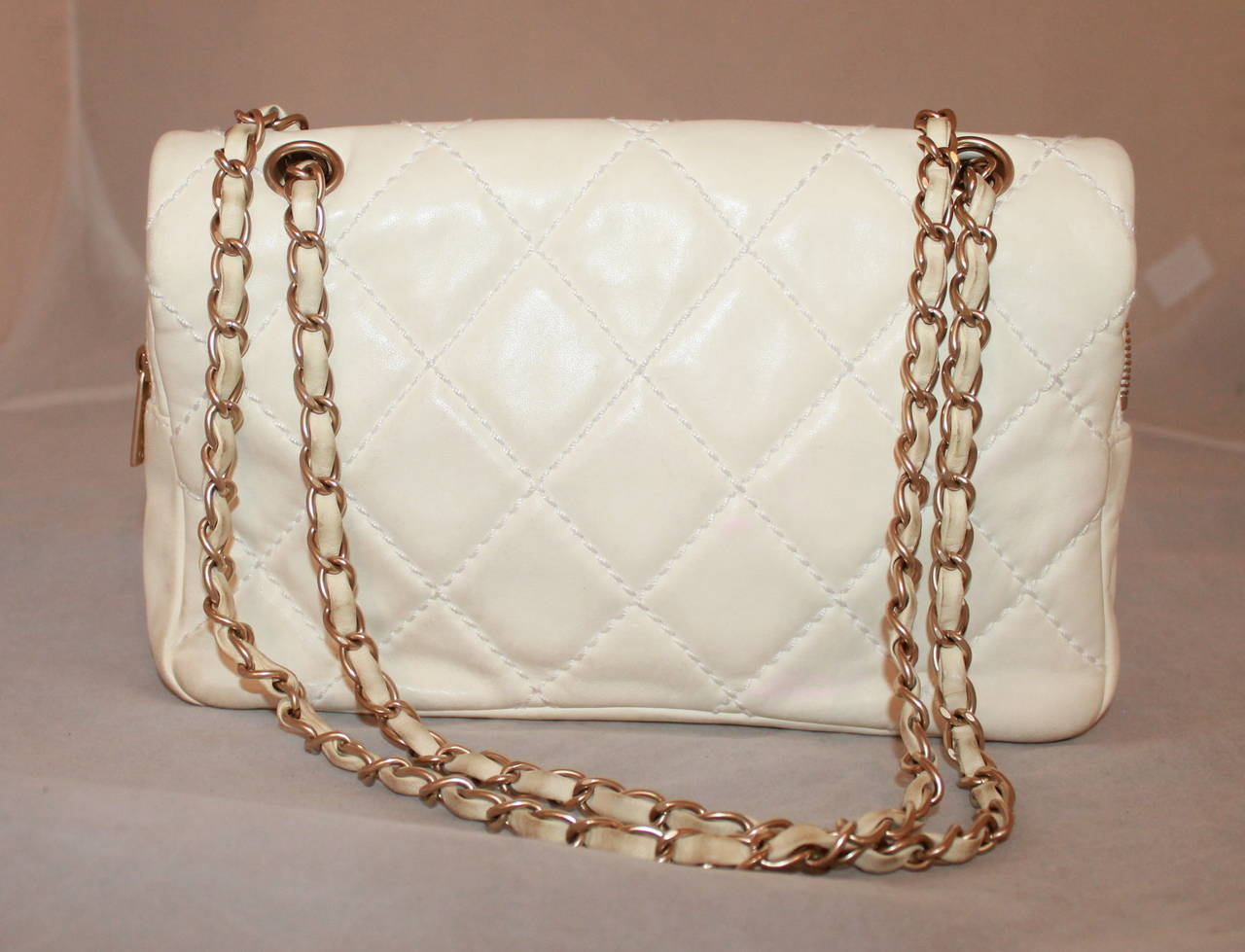 Chanel Ivory Quilted Leather Handbag with Pink & Red Camellia - circa 2005 3