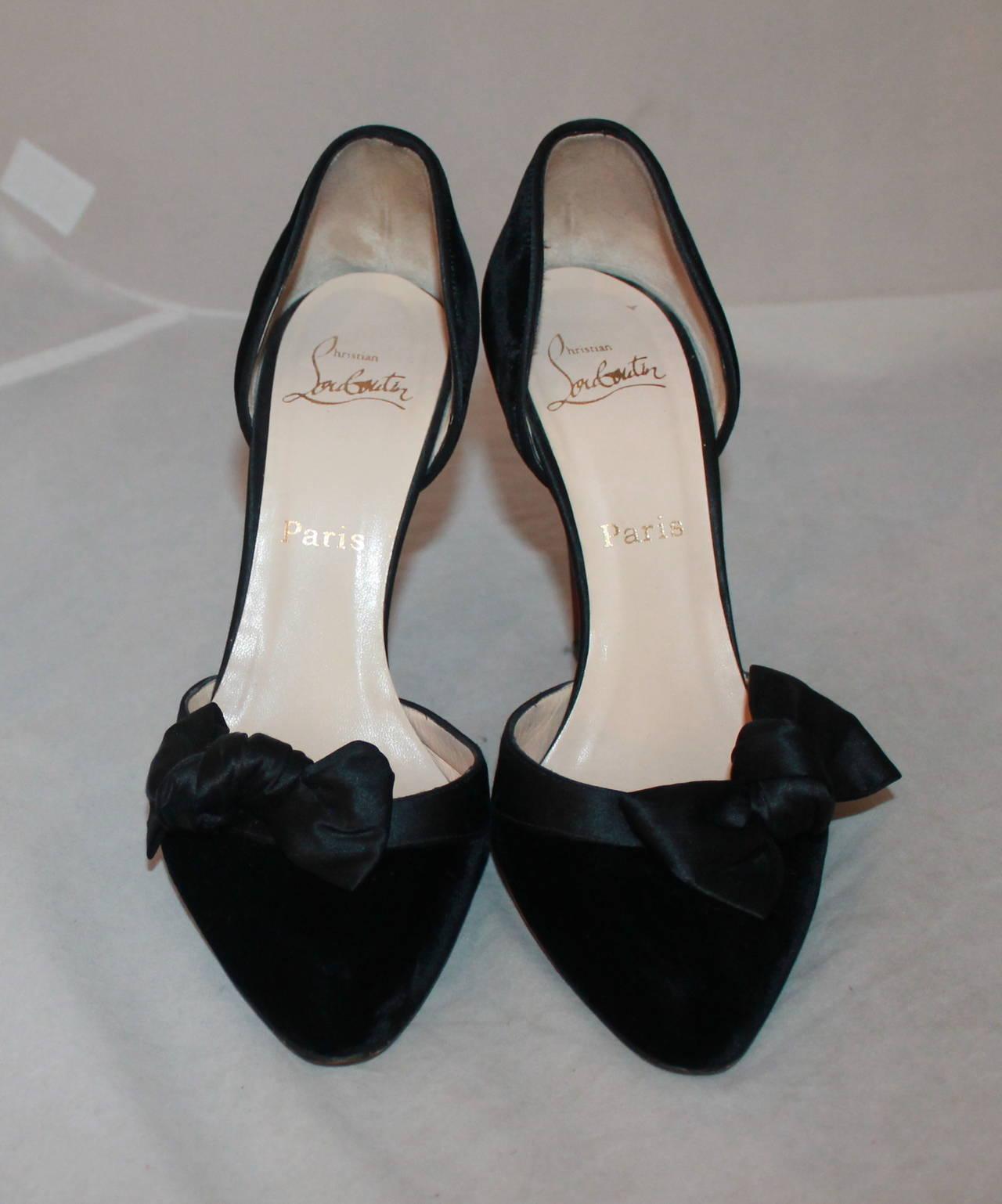 best replica christian louboutins - Christian Louboutin Black Velvet and Satin Bow Heels - 39 For Sale ...