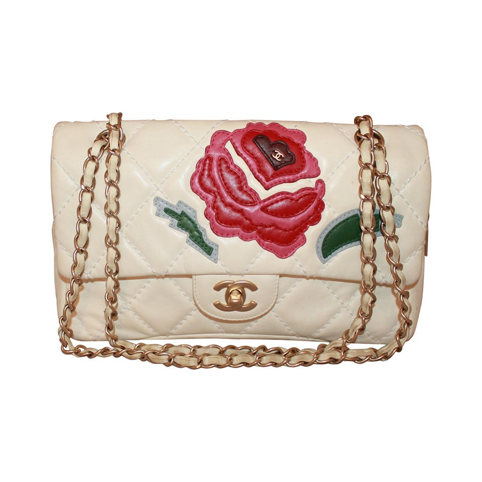 Chanel Ivory Quilted Leather Handbag with Pink & Red Camellia - circa 2005 1
