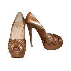 Christian Louboutin Golden Platform Heels - 36