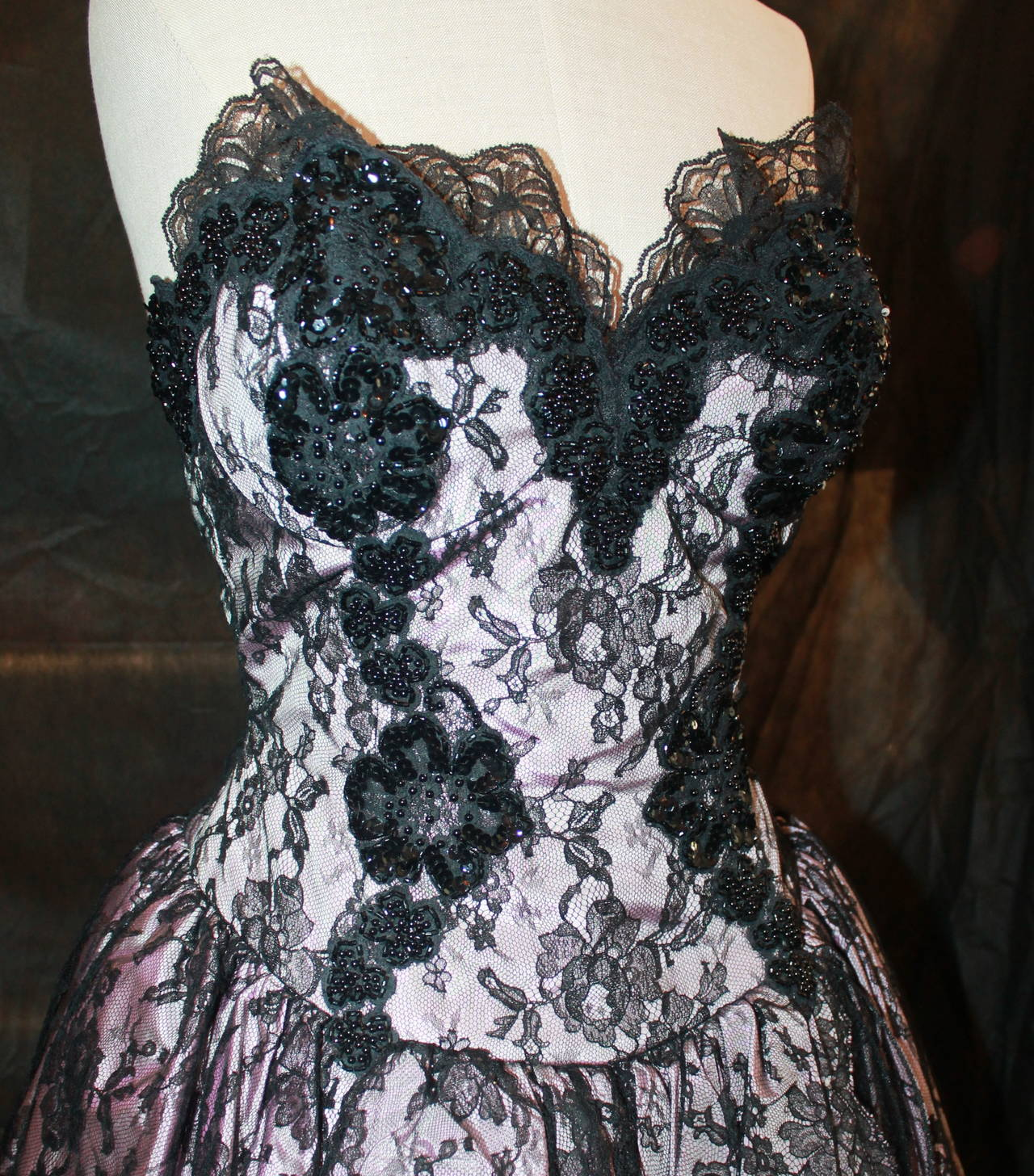 Vicky Tiel 1980s Couture Pale Pink & Black Lace Bodice Dress 2