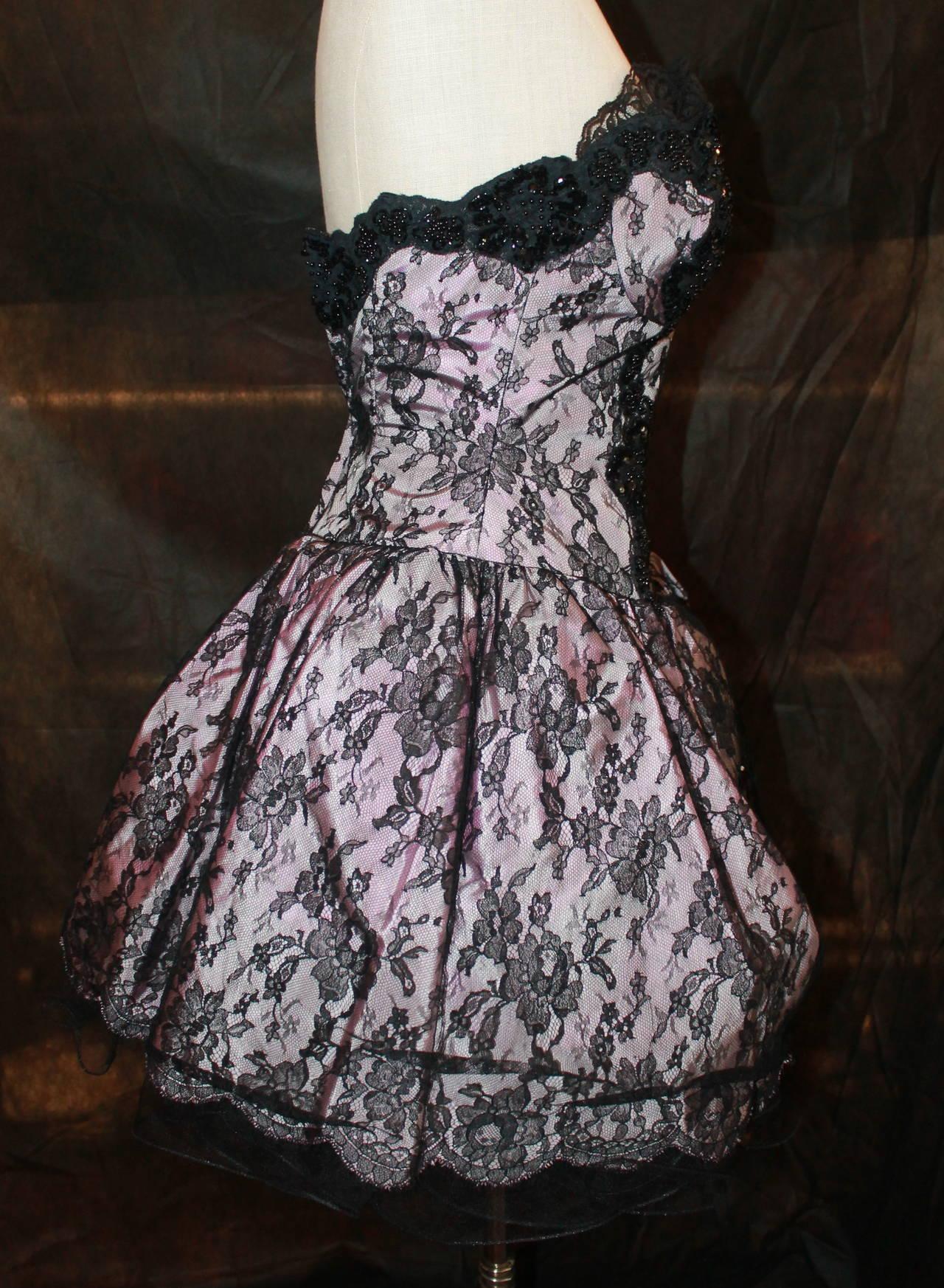Women's Vicky Tiel 1980s Couture Pale Pink & Black Lace Bodice Dress