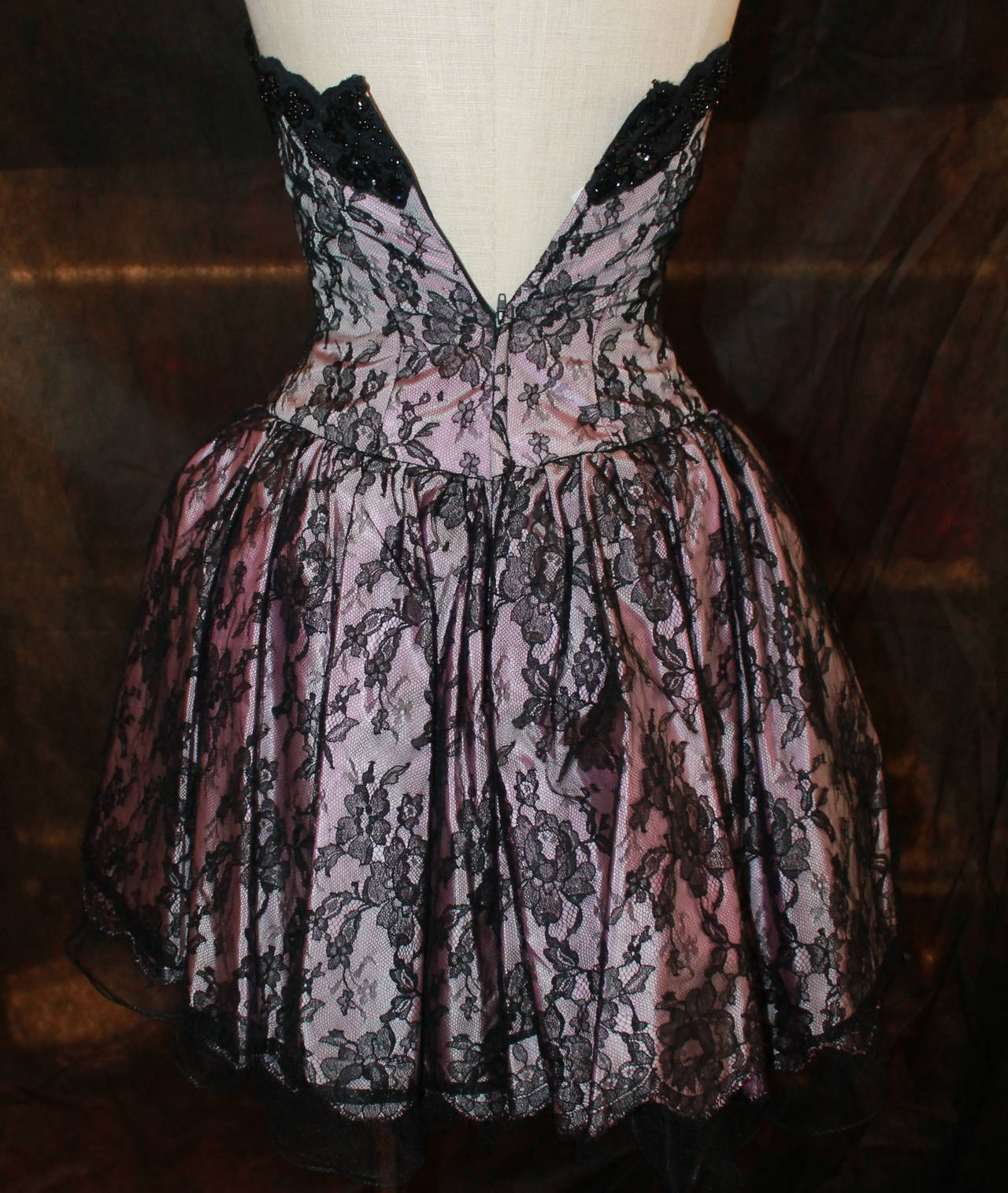 Vicky Tiel 1980s Couture Pale Pink & Black Lace Bodice Dress 5