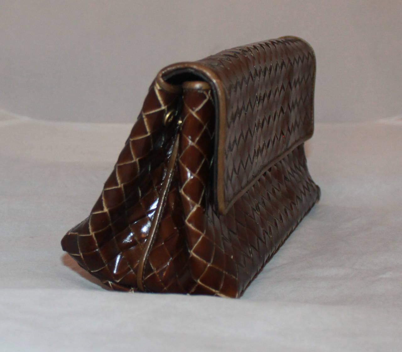 Bottega Veneta Bronze & Brown Braided Leather Clutch 3
