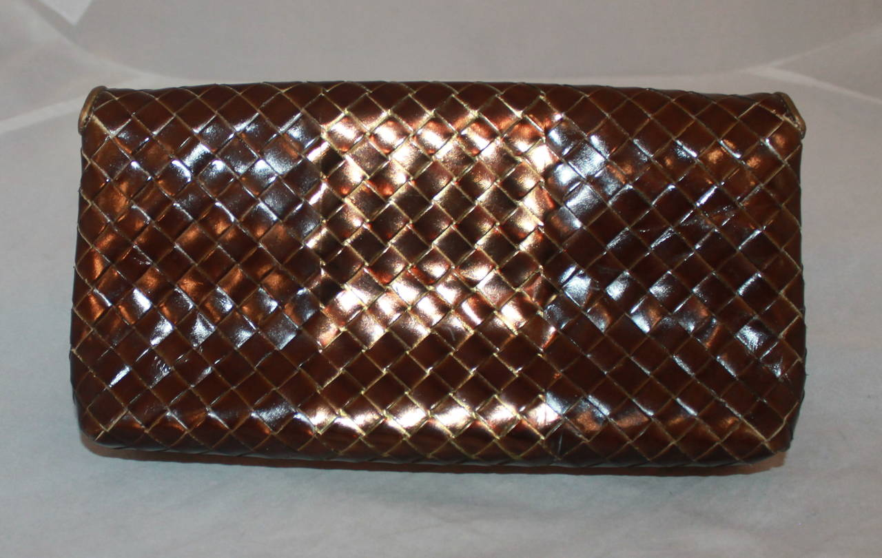Bottega Veneta Bronze & Brown Braided Leather Clutch 2