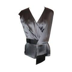 Oscar De La Renta Grey Silk Asymmetric Top - 6 - NWT
