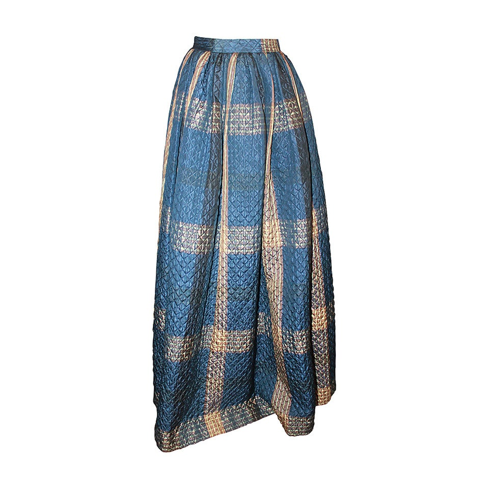 Oscar De La Renta 1990s Navy & Creme Quilted Maxi Skirt