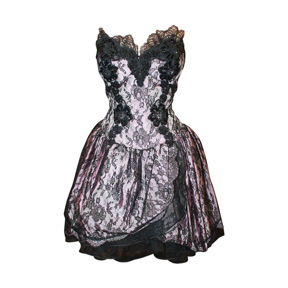 Vicky Tiel 1980s Couture Pale Pink & Black Lace Bodice Dress 1