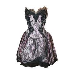 Vicky Tiel 1980s Couture Pale Pink & Black Lace Bodice Dress