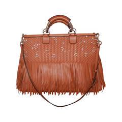 Valentino Luggage Leather Fringe Handbag with Rhinestones & Pearls