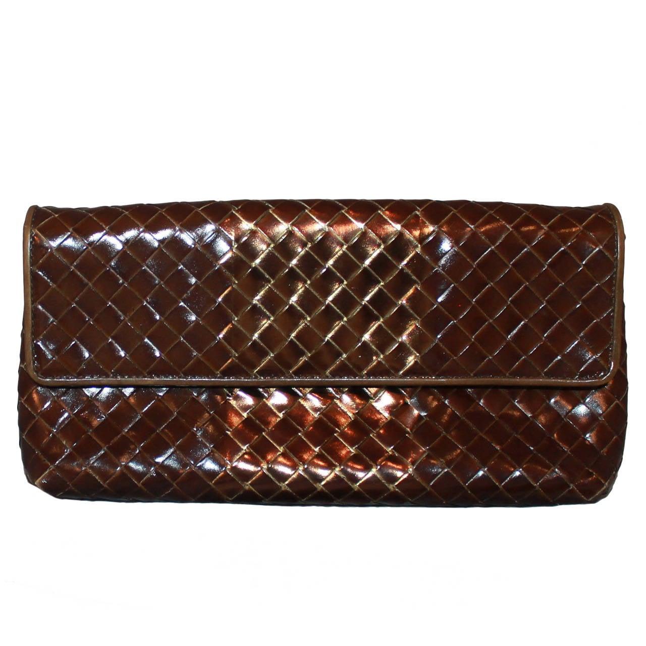 Bottega Veneta Bronze & Brown Braided Leather Clutch 1