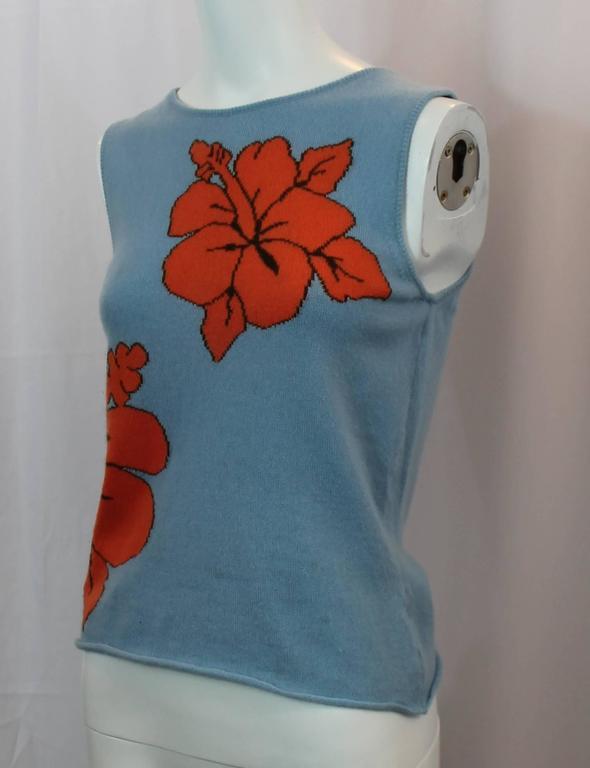 Lucien Pellat-Finet Sleeveless Blue Tropical Print Cashmere Top - S 2